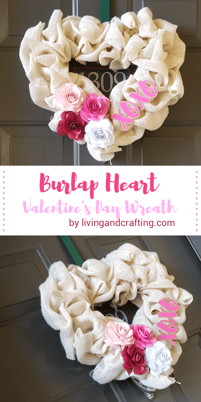 Burlap Heart Valentine's Day-Wreath pin