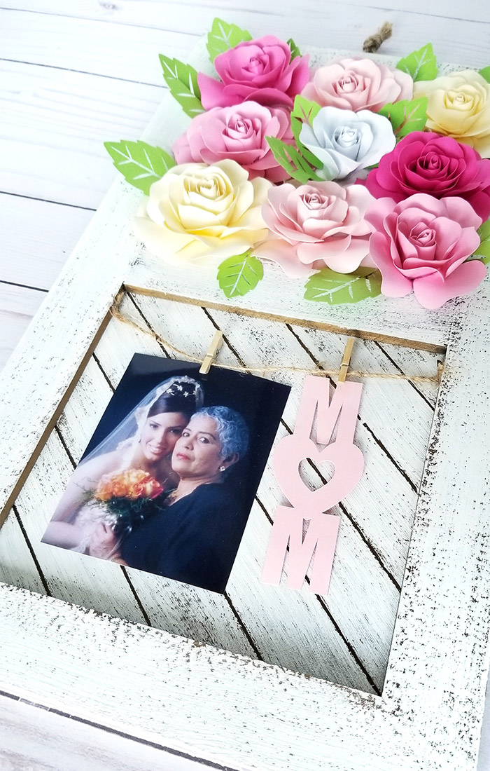 Paper Rose Mother's Day Rustic Frame 14
