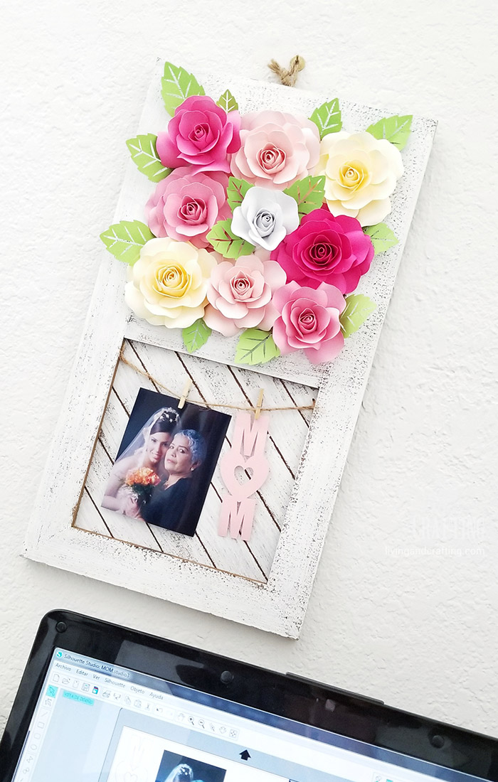 Paper Rose Mother's Day Rustic Frame 15