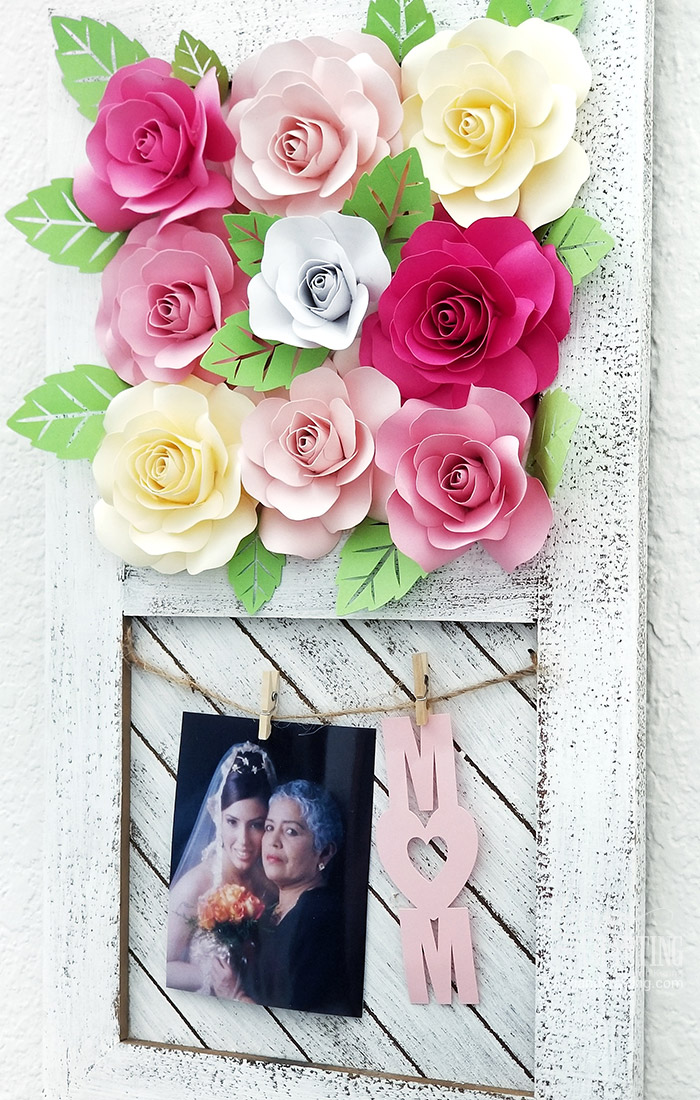 Paper Rose Mother's Day Rustic Frame 16