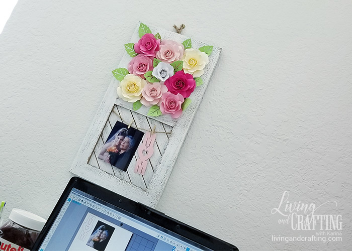 Paper Rose Mother's Day Rustic Frame 18