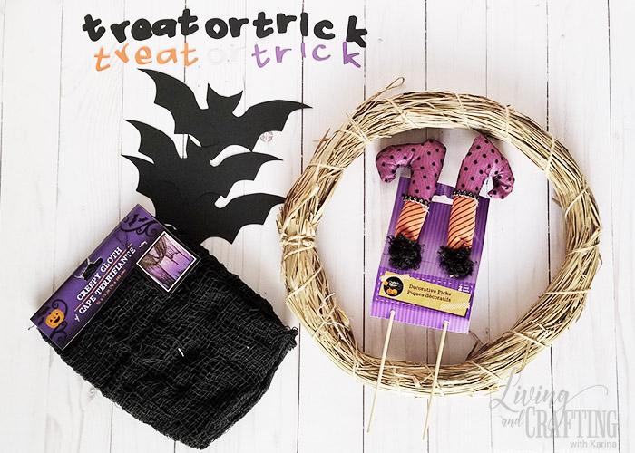Easy Halloween Witch Wreath supplies